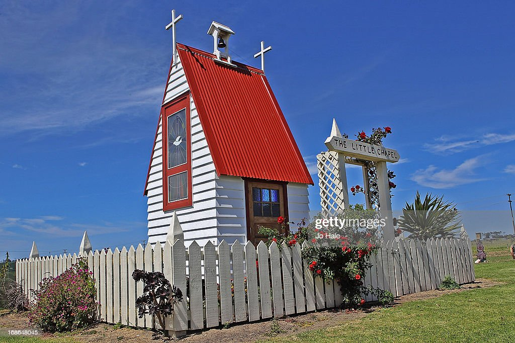 A general view of the Little Chapel, the smallest church in New Zealand situated at the NZ Kumara Capital Farm on January 8, 2013 in Aratapu in the Kaipara District in the Northlands of the North Island in New Zealand.