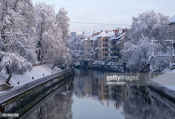 A general view of the Ljubljanica river on January 14 2017 in Ljubljana Slovenia Most of Slovenia was covered by heavy snowfalls for the first time...