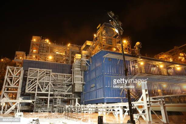 A general view of the LNG plant in Sabetta sea port at Yamal peninsula in Siberia Russia December 8 2017 Vladimit Putin is taking part in the first...