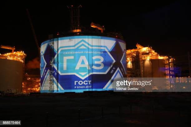 A general view of the LNG plant in Sabetta sea port at Yamal peninsula in Siberia Russia December2017 The sign reads 'Gaz' Vladimir Putin is taking...