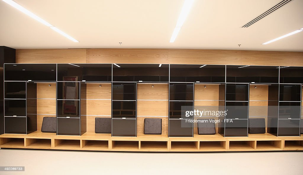 A general view of the locker room during the 2014 FIFA World Cup Host City Tour at the Arena Sao Paulo on May 19, 2014 in Sao Paulo, Brazil.
