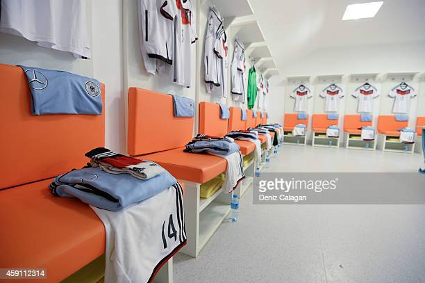 A general view of the locker room of Germany prior the international friendly match between U18 Germany and U18 Turkey on November 17 2014 in Side...