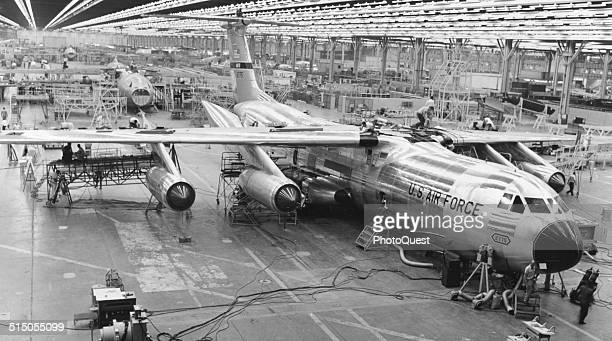 General view of the Lockheed plant as a US Air Force C141 Starlifter nears the end of the assembly line Georgia April 15 1964