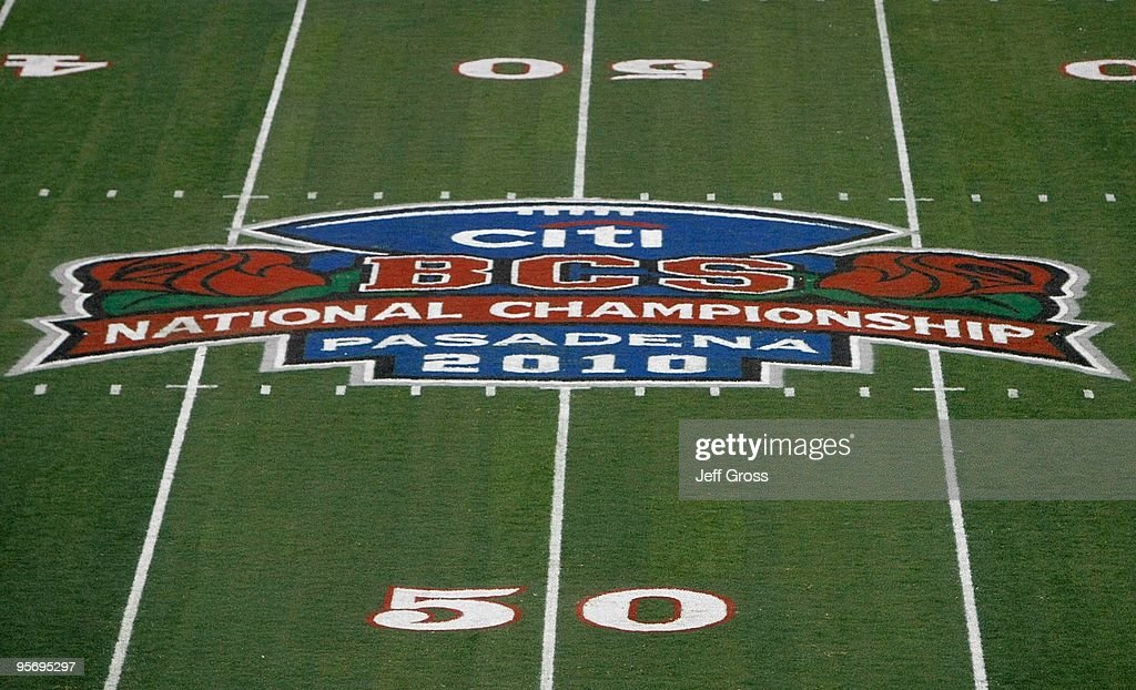 A general view of the logo on the field before the Texas Longhorns take on the Alabama Crimson Tide in the Citi BCS National Championship game at the Rose Bowl on January 7, 2010 in Pasadena, California.