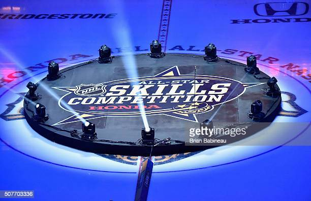 A general view of the logo seen on the ice before the start of the 2016 Honda NHL AllStar Skill Competition as part of the 2016 NHL AllStar Weekend...