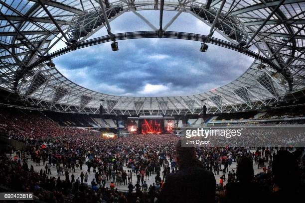 A general view of the London Stadium in the Queen Elizabeth Olympic Park during a performance by Depeche Mode on June 3 2017 in London England
