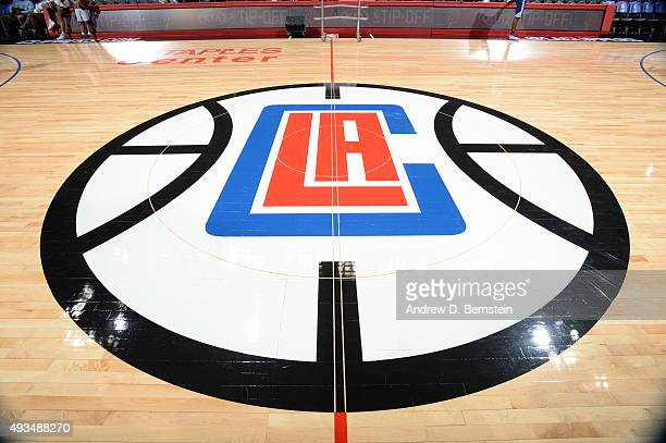 A general view of the Los Angeles Clippers logo on the floor of the Staples Center before the game between the Golden State Warriors and Los Angeles...