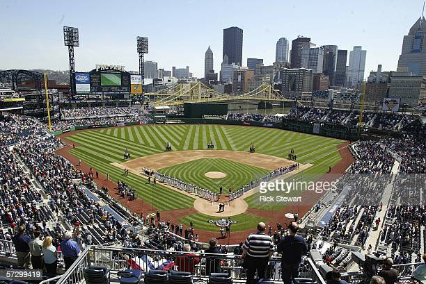A general view of the Los Angeles Dodgers and Pittsburgh Pirates on the baselines during the national anthem on April 10 2006 at PNC Park in...