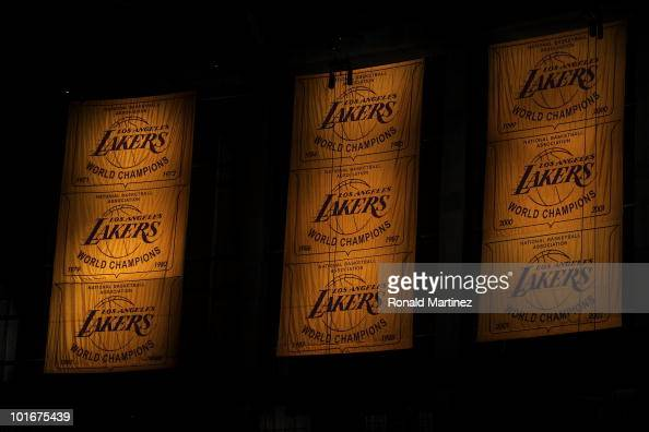 General view of the Los Angeles Lakers' championship banners are displayed before Game Two of the 2010 NBA Finals between the Boston Celtics and the...