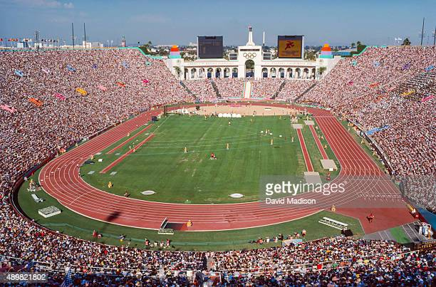 A general view of the Los Angeles Memorial Coliseum stadium during the first heat of the first round of the Women's 4x100 meter relay event of the...