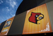 A general view of the Louisville Cardinals logo on the exterior of the MercedesBenz Superdome during practice prior to the 2012 Final Four of the...