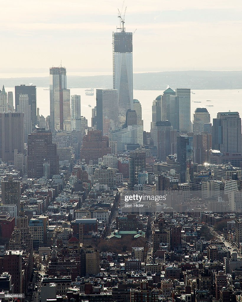 A general view of the lower Manhattan skyline with the construction of the Freedom Tower at One World Trade Center on December 6, 2012 in New York City.