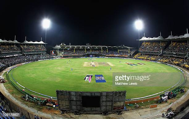 A general view of the MA Chidambaram Stadium during the 2011 ICC World Cup Warm up game against India and New Zealand at the MA Chidambaram Stadium...