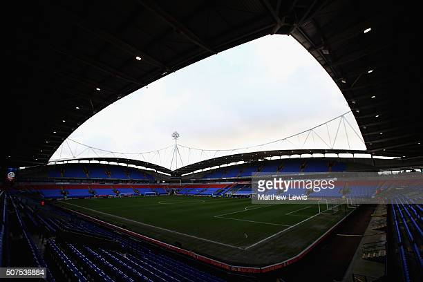 A general view of the Macron Stadium during The Emirates FA Cup Fourth Round match between Bolton Wanderers and Leeds United at Macron Stadium on...