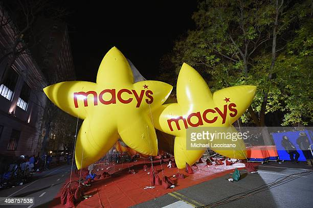 General view of the Macy's Star balloons during the 89th Annual Macy's Thanksgiving Day Inflation Eve on November 25 2015 in New York City