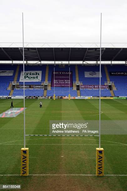General view of the Madejski Stadium with rugby posts in position