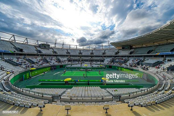 A general view of the main court of the Olympic Tennis Centre at the Olympic Park during the Brazil Tennis Masters Cup as a test event for the Rio...