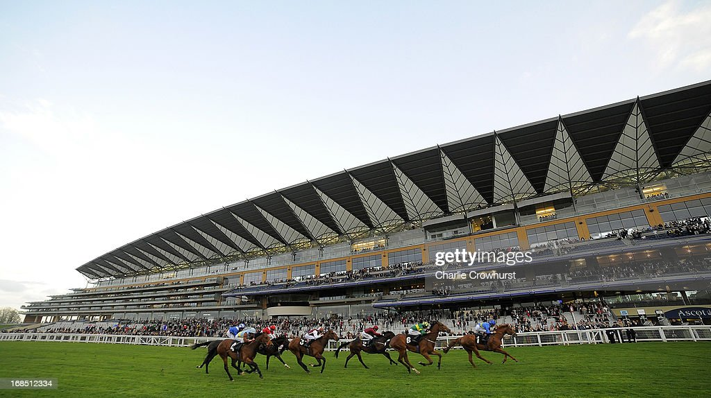 A general view of the main grandstand as horse ride in the Ascot Racecourse Handicap stakes at Ascot racecourse on May 10, 2013 in Ascot, England.