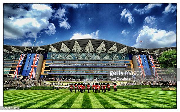 A general view of the main Grandstand as the military band perform during day five of Royal Ascot at Ascot Racecourse on June 21 2014 in Ascot England