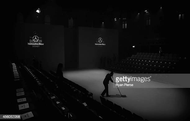 A general view of the main runway before the MercedesBenz Presents Australian Style Show at MercedesBenz Fashion Festival Sydney at Sydney Town Hall...