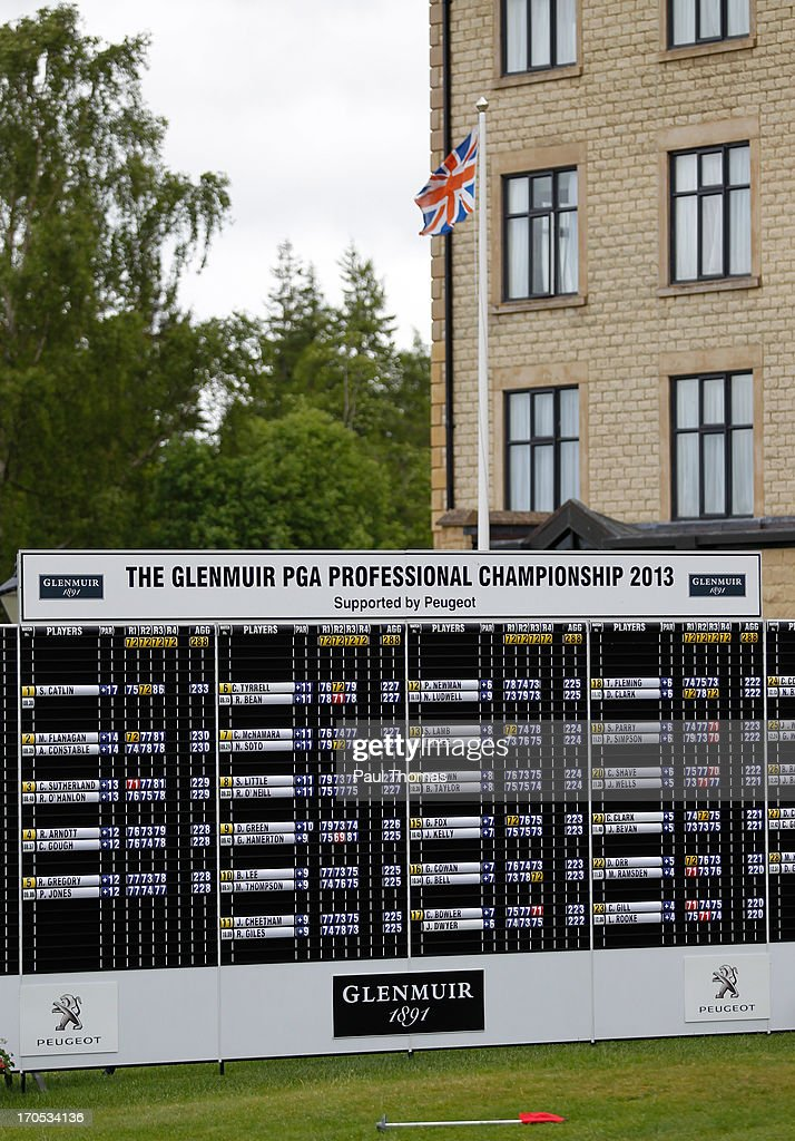 A general view of the main scoreboard during the final round of the Glenmuir PGA Professional Championship on the Hunting Course at De Vere Slaley Hall on June 14, 2013 in Hexham, England.