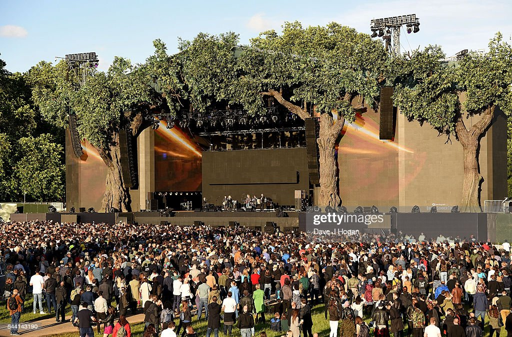 A general view of the main stage at the Barclaycard Presents British Summer Time Festival in Hyde Park on July 1, 2016 in London, England.