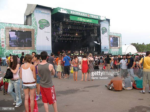 A general view of the main stage at the International Festival of Benicassim on July 19 2007 in Benicassim Spain The festival attracts people from...
