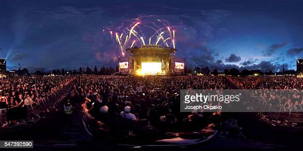 General view of the main stage on Day 3 of Wireless Festival at Finsbury Park on July 10 2016 in London England