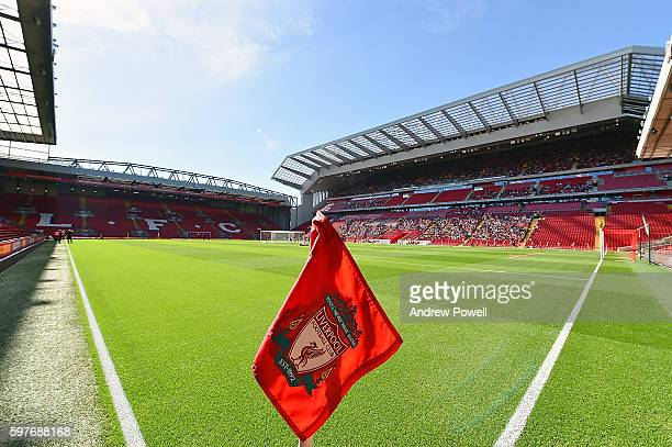 General view of the main stand at the test event at Anfield on August 29 2016 in Liverpool England