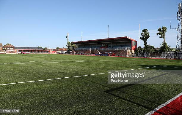 A general view of the Main Stand prior to the PreSeason Friendly match between Worthing and Northampton Town at Photronix Stadium on July 7 2015 in...