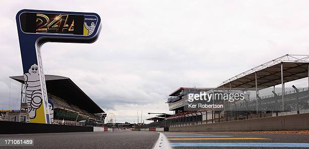 General view of the main straight and grandstands during previews for the Le Mans 24 Hour race at the Circuit de la Sarthe on June 21 2013 in Le Mans...
