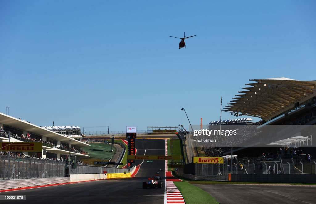 General view of the main straight during practice for the United States Formula One Grand Prix at the Circuit of the Americas on November 16, 2012 in Austin, Texas.