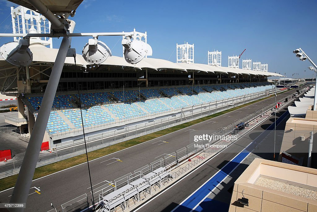 General view of the main straight pits and paddock during day three of Formula One Winter Testing at the Bahrain International Circuit on March 1...