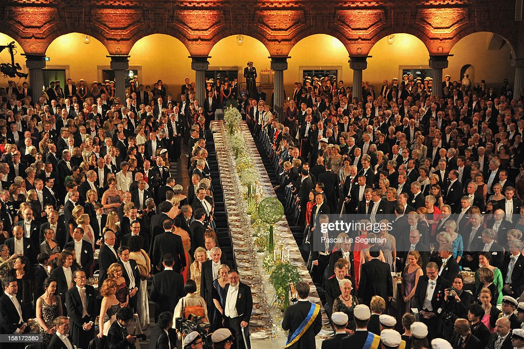 General view of the main table at the start of the Nobel Banquet at Town Hall on December 10 2012 in Stockholm Sweden