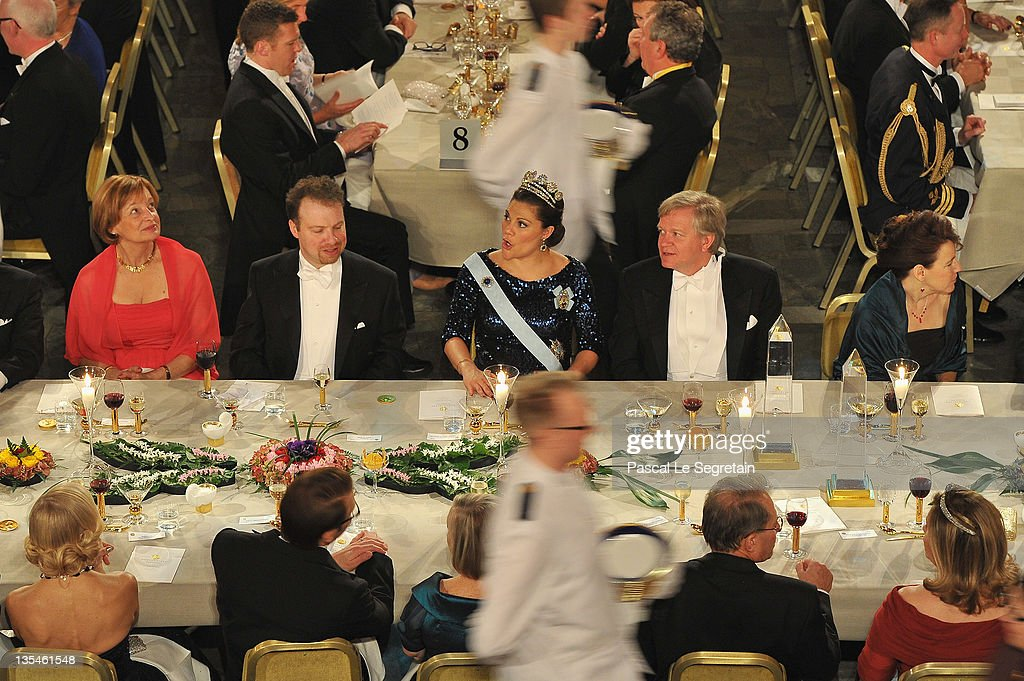 General view of the main table is seen during the Nobel Banquet at the City Hall on December 10, 2011 in Stockholm, Sweden.
