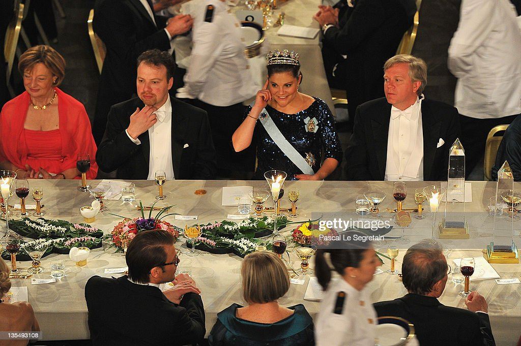 General view of the main table is seen during the Nobel Banquet at Stockholm City Hall on December 10, 2011 in Stockholm, Sweden.