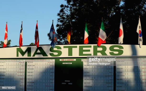 A general view of the main tournament scoreboard during the Drive Chip and Putt Championship at Augusta National Golf Club at Augusta National Golf...