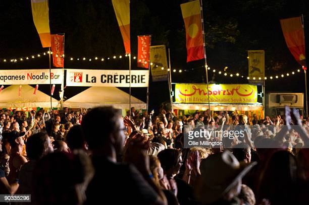 General View of the mainstage crowd with food tents to the side on the last night of the Summer Sundae Weekender at De Montfort Hall And Gardens on...