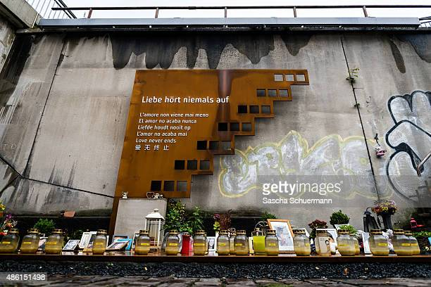 A general view of the makeshift memorial to victims of the Love Parade disaster on its fifth anniversary on September 1 2015 in Duisburg Germany In...