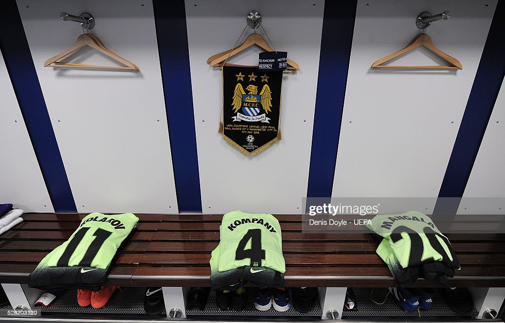 General view of the Manchester City dressing room ahead of the UEFA Champions League Semi Final second leg match between Real Madrid and Manchester City FC at Estadio Santiago Bernabeu on May 4, 2016 in Madrid, Spain.