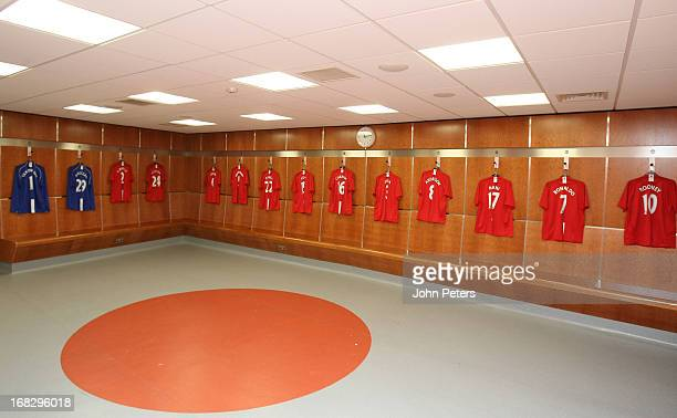 A general view of the Manchester United home dressing room at Old Trafford on August 11 2008 in Manchester England
