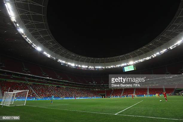 General view of the Mane Garrincha Stadium during the Women's First Round Group E match between China PR and Sweden on Day 4 of the Rio 2016 Olympic...
