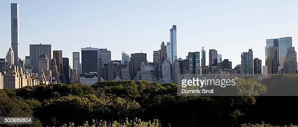 General view of the Manhattan Skyline as seen from the roof top of the Metropolitan Museum of Art on August 01 2015 in New York City