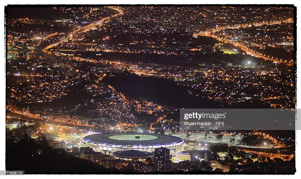. A general view of the Maracana stadium from the Christ the redeemer statue on June 25, 2013 in Rio de Janeiro, Brazil.