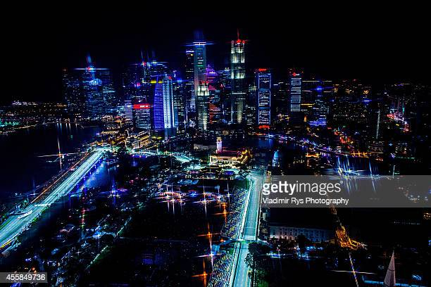 A general view of the Marina Bay racing track is seen during practice for the Singapore Formula One Grand Prix at Marina Bay Street Circuit on...