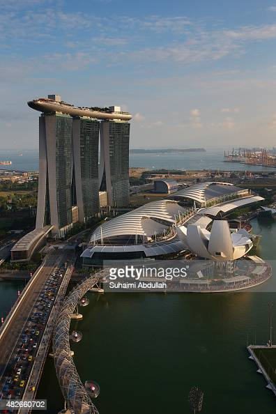 A general view of the Marina Bay Sands and the ArtScience museum on August 1 2015 in Singapore