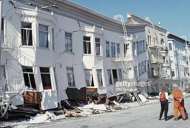 General view of the Marina district disaster zone after an earthquake measuring 71 on the richter scale rocks game three of the World Series between...