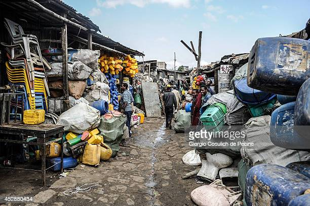 General view of the market of Merkato district on July 04 2014 in Addis Ababa Ethiopia The Ethiopian government has recently launched a new urban...