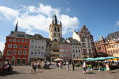 General view of the Market square on August 9 2008 inTrier Germany Trier ist the oldest town in Germany