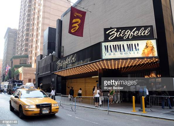 A general view of the marquee at the premiere of 'Mamma Mia' at the Ziegfeld Theatre July 16 2008 in New York City